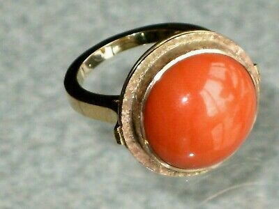 ANTIQUE VICTORIAN 10K GOLD RED SALMON CORAL CABOCHON RING 13 gr SIZE 8