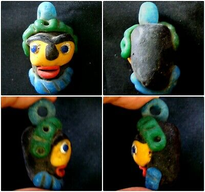 Antique Phoenician yellow face Blue Beard Mosaic Glass Bead Pendant 410