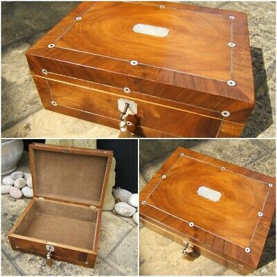 SUPERB LARGE 19c MAHOGANY ANTIQUE DOCUMENT/JEWELLERY BOX  FAB INTERIOR