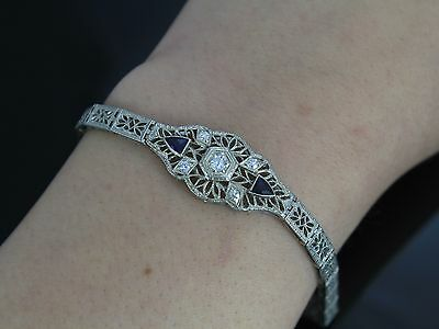 Vintage 18k White Gold Sapphire Old Miner Cut Diamond Art Deco Milgrain Bracelet