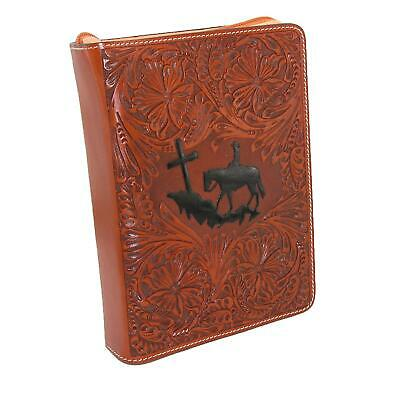 New 3 D Belt Company Tooled Leather Tan Book Cover or Bible Cover