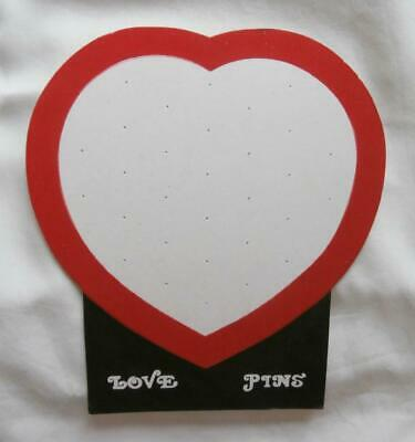 Unused Vintage Late 1960's White & Red Heart Shaped 'Love Pins' Display Card