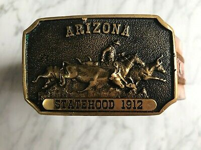 Vintage Arizona Statehood 1912 brass buckle belt length 43.5""
