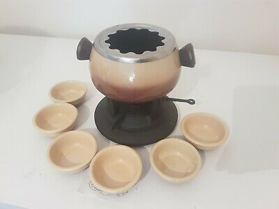 Ceramic Fondue Set New With Burner And 6 Dishes unboxed never used