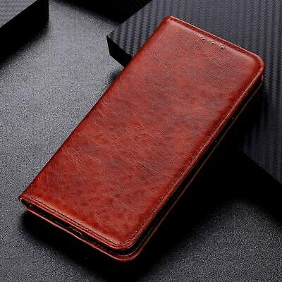 Brown Leather Flip Case For Galaxy A80 Wallet Style Magnetic Card Slot Kickstand