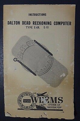Vintage 1940's Dalton Dead Reckoning Computer Type E-6B E-10 Instructions Manual