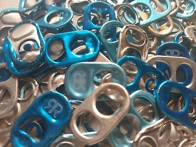 100 Blue/ Silver/ Light Blue Aluminum Can Assorted  Pull Tabs Pop Tabs Soda Beer