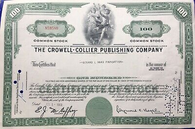 The Crowell Collier Publishing Company Newyork Chicago Antique Bank Bond 1963.