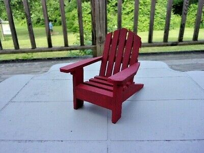 Beautiful Adirondack Red Painted  Chair -  - Wood -  Doll House Miniature