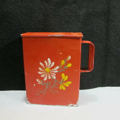 """Antique Hand Painted Toleware Tea Tin Box General Store Kitchen Canister 10"""""""