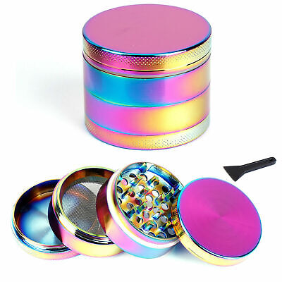 Concave Rainbow Tobacco Herb Grinder Large 50mm 4 Part Lid Shiny Purple UK