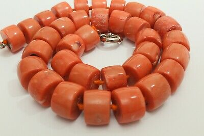 Superb 100% Natural Organic Untreated Undyed Shrimp Salmon Color Coral Necklace