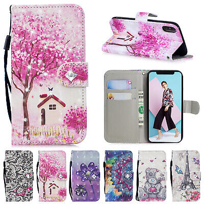 For iPhone 5s 6 7 8 Plus XS Max XR Case Magnetic Leather Flip Wallet Stand Cover