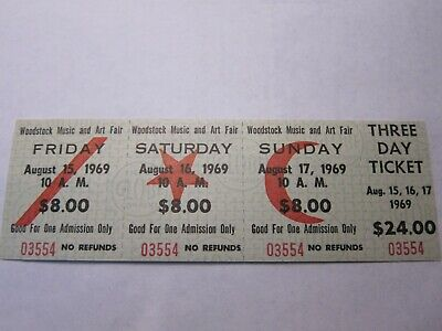 WOODSTOCK 1969 FULL TICKET Music and Art Fair 3 Day Aug.15-17
