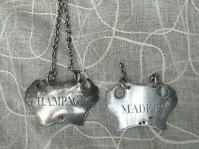 2 Antique English Sterling Wine Tag Ticket with Butterfly and Crab Hallmark