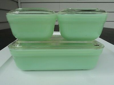 Fire King Jade-Ite Jadite  3 Piece Colonial Refrigerator Container Set