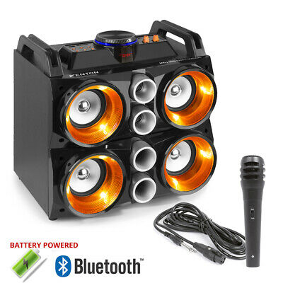 B-Stock Battery Powered Portable Stereo Quad Speaker with Bluetooth USB & Lights