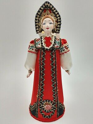 """Collectible Handcrafted 10""""Russian Porcelain Doll Handmade Decorative Costume"""