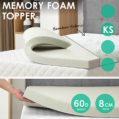 Bamboo Cover Memory Foam Mattress Topper Underlay 8CM Pad Mat - King Single