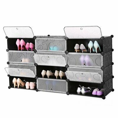 12-Cube DIY Plastic Wardrobe Cupboard Closet Cabinet Organizer Storage Shoe Rack