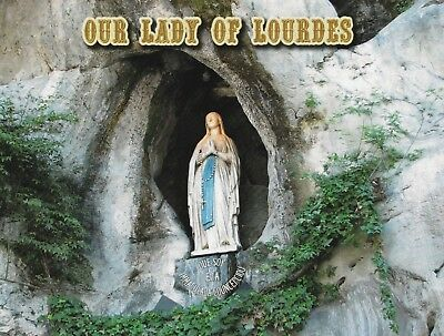 """France-""""Statue of Our Lady of Lourdes"""" @ Grotto of Massabielle- {Postcard}"""