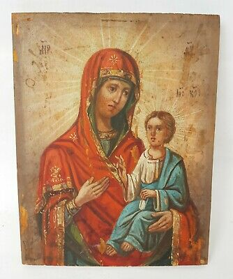 Antique 19th C Russian Hand Painted Wood Icon of the Tikhvin Mother of God