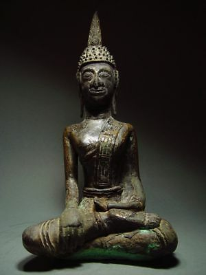 ANTIQUE BRONZE MEDITATING  SAKYAMUNI ' LAN CHANG' BUDDHA, LAOTIAN ART 9/10th C.