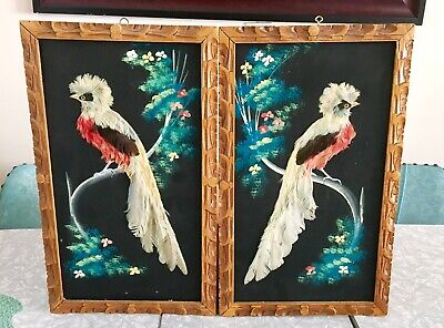 Vintage Mid Century Set Of Two Made In Mexico Feather Bird Folk Art Painting