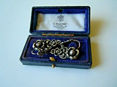 Rare imper. RUSSIAN 84 Silver Earrings, AH master hallmark Faberge desig 1917