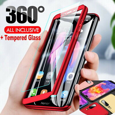 360° Full Cover Case + Tempered Glass For Huawei Y9 Prime Y7 Y5 Y6 P Smart 2019