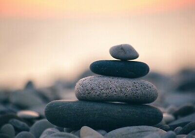 A4| Zen Stones Poster Size A4 Relaxation Pebbles Beach Calm Poster Gift #16982