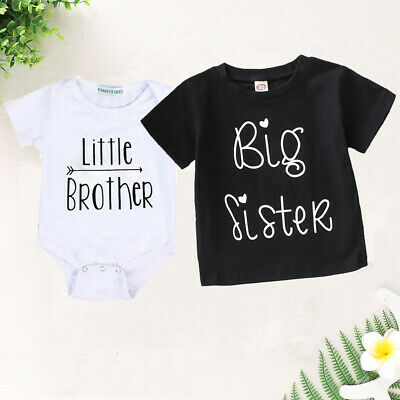 Toddler Kids Baby Little Brother Romper Big Sister Tops T-shirt Summer Outfits