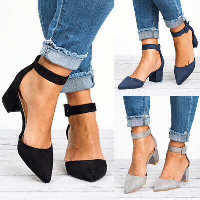 Women Ladies Ankle Strap Block Heels Sandals Ladies Summer Point Toe Shoes Size