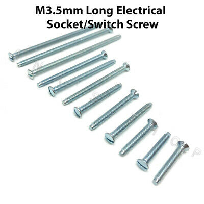 M3.5 Electrical Machine Screws Long Light Switch Plate Plug Socket 35,40,50,75mm