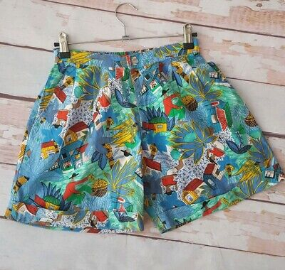 Vintage 80s jungle tropical cotton high waist summer shorts XS S