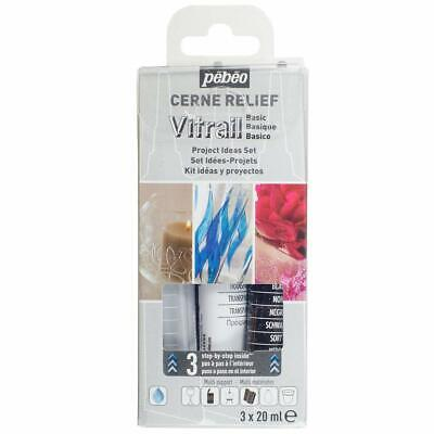 Pebeo Cerne Relief 3D Outliner Mixed Media, Glass, Ceramic Paint Set 3 x 20ml
