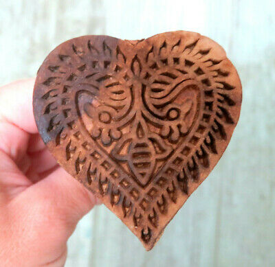 Beautifully carved Primitive wood HEART w Honey Bee Butter Mold Stamp Press