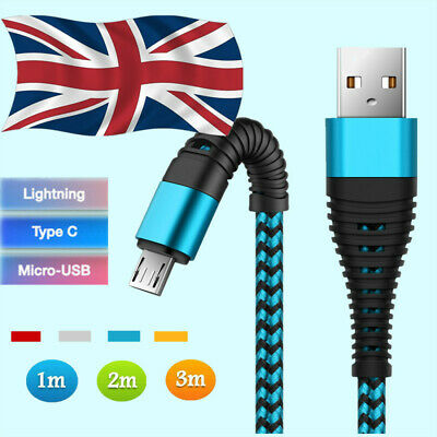 UK 1~3M Fast USB Charger Charging Cable For Samsung Galaxy Phone S5 S6 S7 Edge +