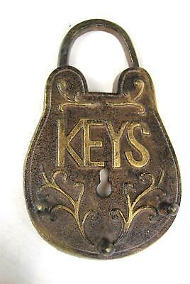 Key Hook Wall Cast Iron Padlock design in a  Rustic Gold Bronze Brown colour