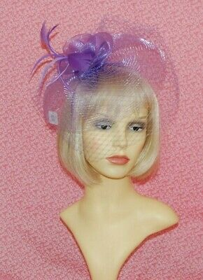 Ladies Elegant Lilac Net Fascinator with Veiling, Feathers & Flower On Head Band