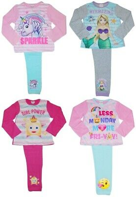 Girls Pyjamas Unicorn Emoji Mermaid nightwear pyjama set sleepwear cotton