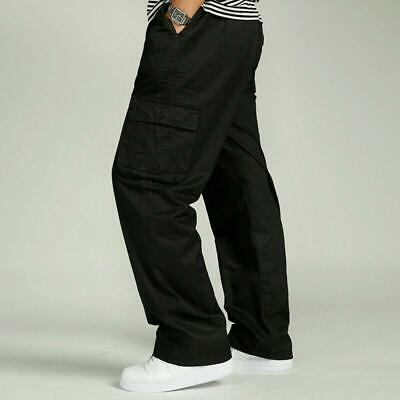 Mens boys Cotton Casual Trousers Loose Fit Pockets Cargo Work Summer Pants Sizes