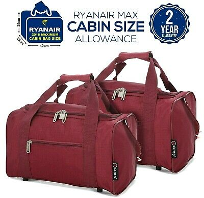 5 Cities 2019 Ryanair 40x20x25 Max Size Cabin Carry on Holdall Bag Case Set of 2