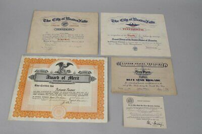 1940s Armed Services, US Treasury & War Bonds Related Document Lot of 5