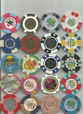 (20) $5,silver palace,dunes jackpot obsolete casino chips las vegas nv lot