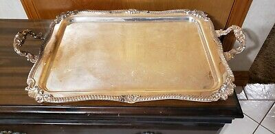 Vintage Large Heavy Footed Ornate Silverplate Serving Tray