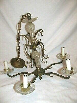 Antique 5 Arm Brass Crystal Hanging Spanish Victorian Chandelier- Works( Tested)
