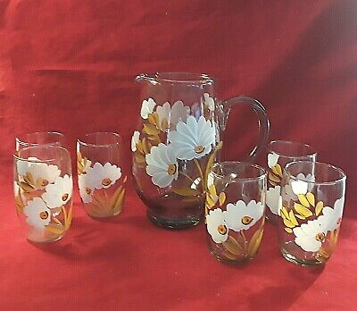 Oneida Beverage Set HAND PAINTED WHITE DAISIES Pitcher & 6 Glasses ICE WATER TEA