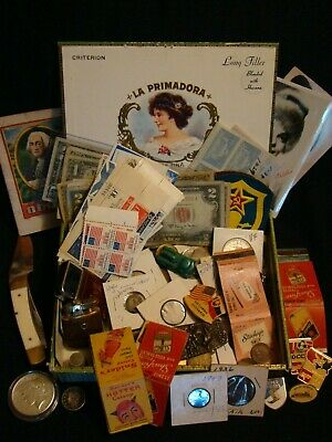JUNK DRAWER Old 90% SILVER Tobacciana Lighters Knife Pinbacks Rare Stamps Tokens