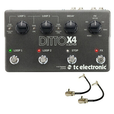 TC Electronic Ditto X4 Dual Track Looper Guitar Effects Pedal w/2 Patch Cables